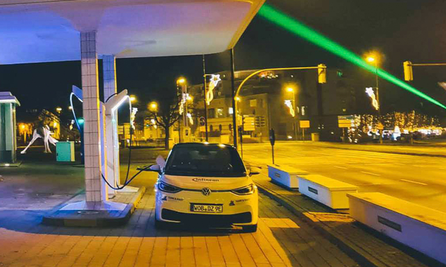 VW charging station in a city