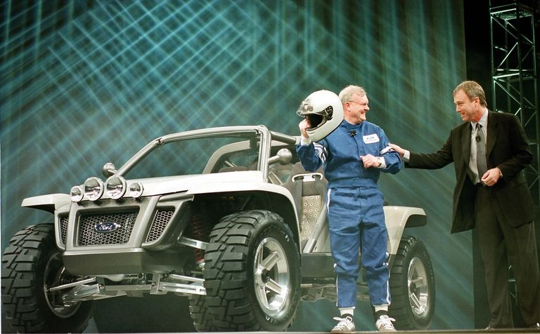 Richard Parry-Jones, left, with J Mays, Ford's vice president of design, introducing the Ford EX Concept at the 2001 Detroit auto show.