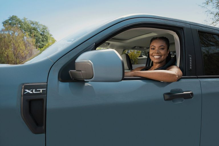Ford released teaser images of actress Gabrielle Union in the driver's seat of a Maverick XLT.