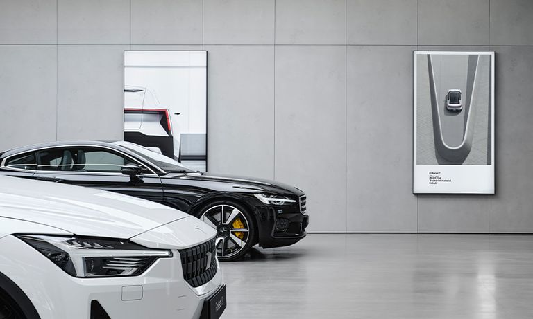 Polestar Space retail site with CO2 label, upper right