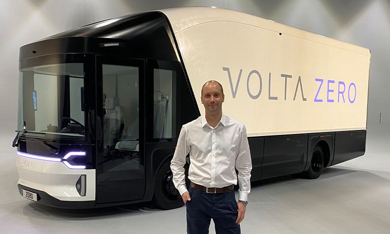 Volta Trucks CEO Rob Fowler with the full-electric Volta Zero