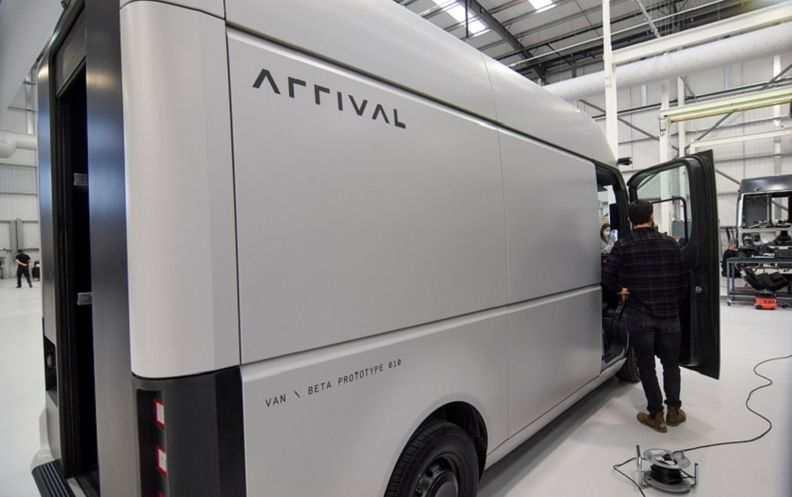 Arrival's full-electric van, which is due to go into production in 2022. A ride-hailing car will follow a year later.