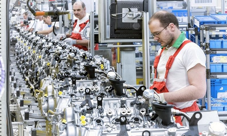Audi's plant in Gyor, Hungary, VW Group's biggest engine factory, built 1.6 million engines in 2020.