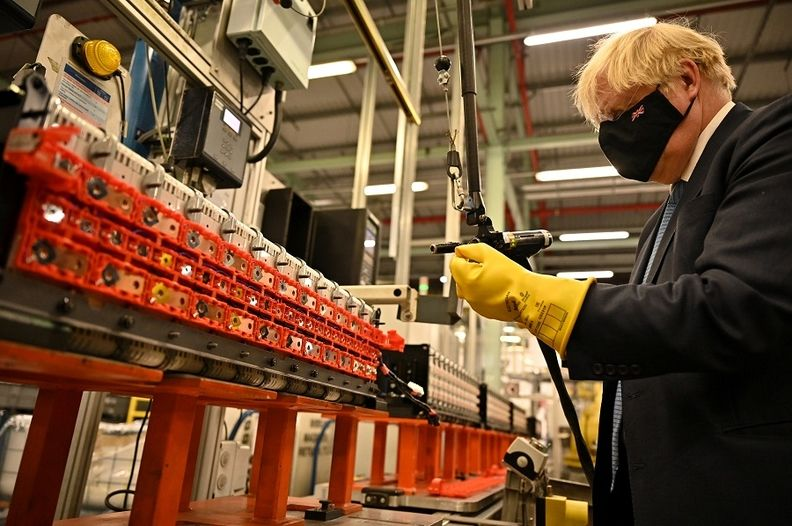 UK Prime Minister Boris Johnson visits the Envision AESC Holding's battery manufacturing facility inside Nissan's plant in Sunderland on July 1, 2021.