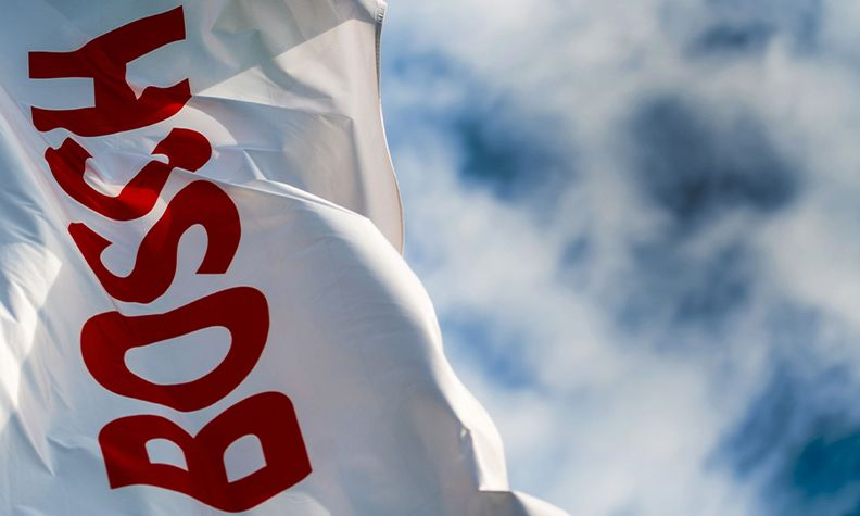 Bosch flag with sky in the background
