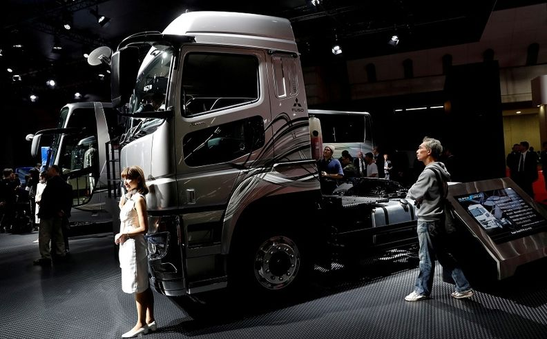 Daimler's FUSO Super Great truck is pictured at the 2017 Tokyo auto show.