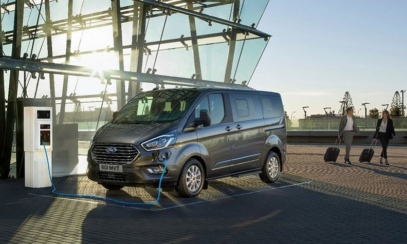The Ford Tourneo Custom plug-in hybrid is pictured. The next generation will have a full-electric version.