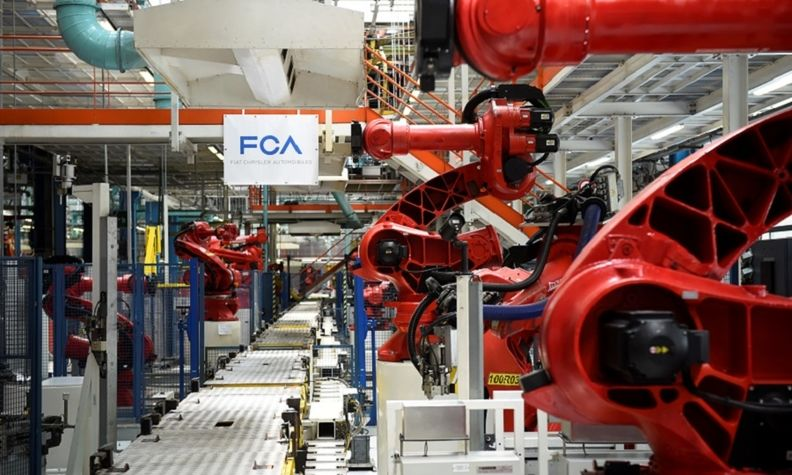 Robots on the Fiat New 500 production line at the Mirafiori plant in Turin.