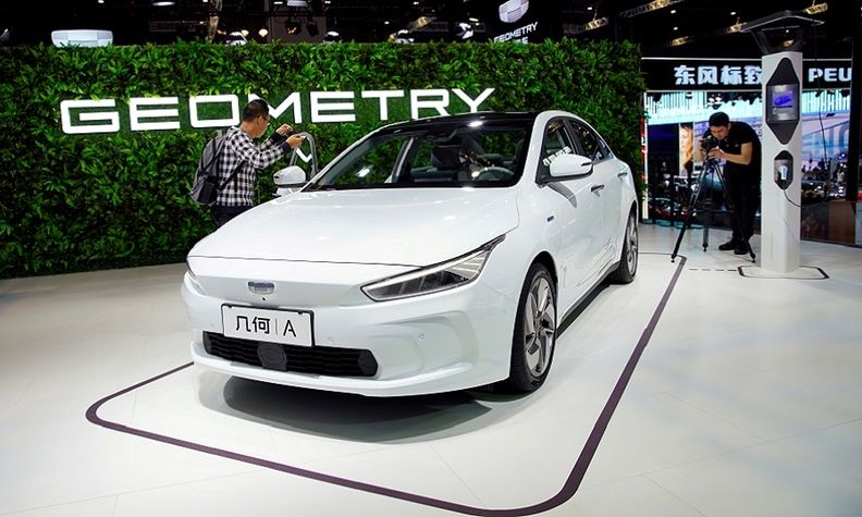 Geely's new electric vehicle, Geometry A (GE11), pictured at the 2019 Shanghai auto show.