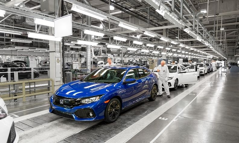 Production of the Honda Civic compact car in Swindon, England.