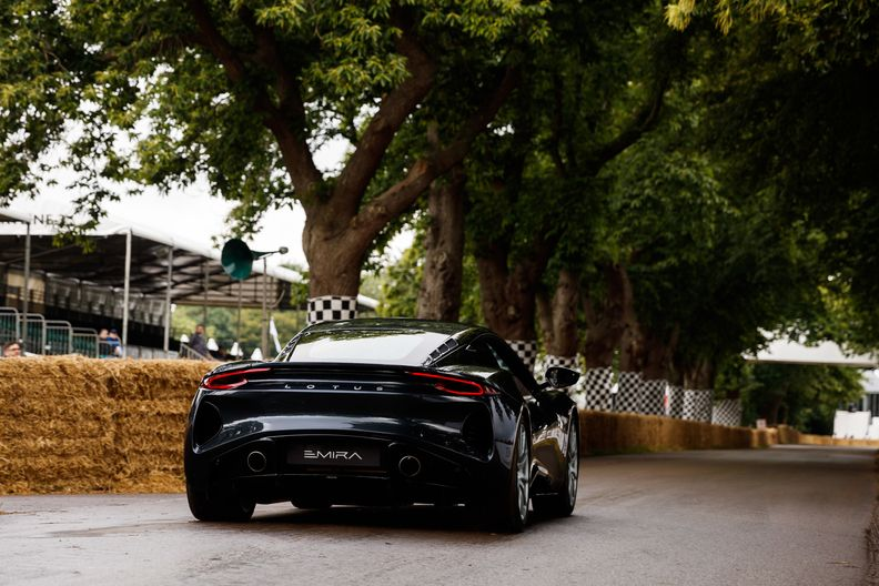 Lotus Emira prepares for the Hill Climb at Goodwood 2021