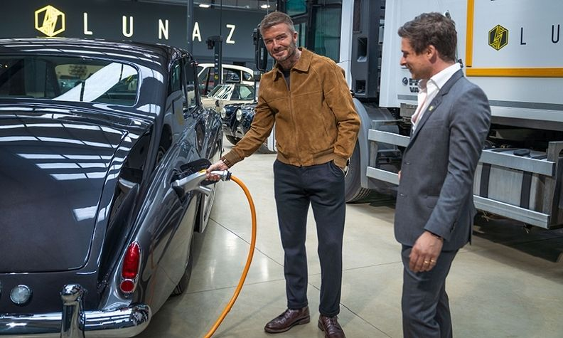 Lunaz David Beckham, David Lorenz with electrified 1961 Rolls-Royce Phantom