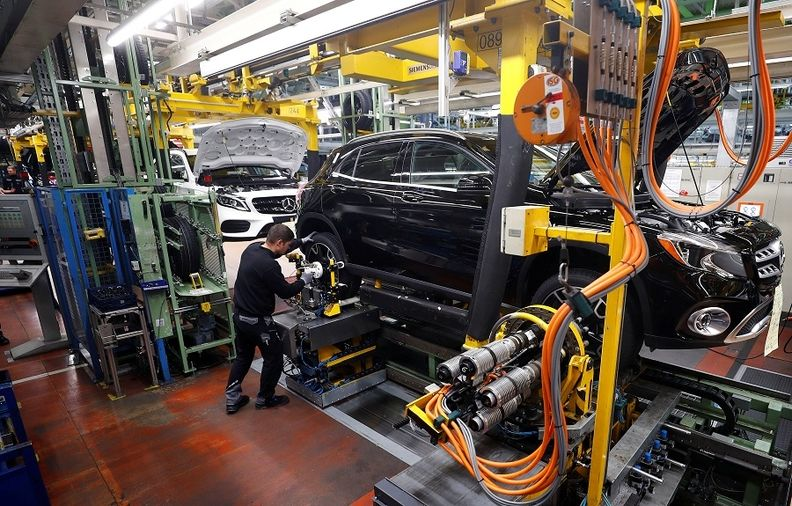 """Mercedes said on July 6 that its deliveries during the second quarter were """"significantly"""" curtailed by a lack of microchips for its cars. Show in production of the A-Class in Rastatt, Germany."""