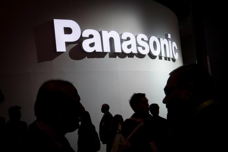 Panasonic logo on a wall at a trade fair