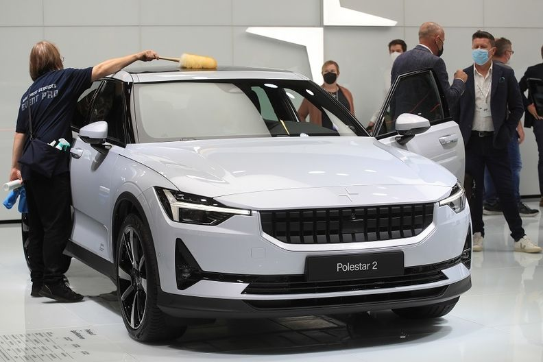 A Polestar 2 on display on Sept. 8 2021 during the IAA Munich auto show.