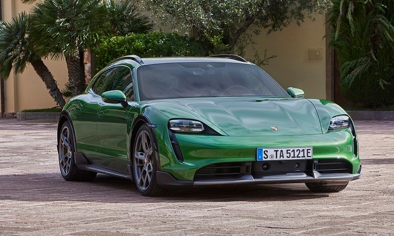 The Porsche Taycan Cross Turismo full-electric car. Porsche says it needs specialized battery cells for racing and eventually high-performance road cars.