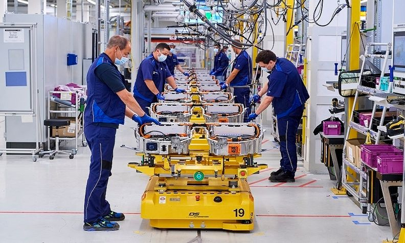 Production of high-voltage batteries at BMW's plant in Dingolfing, Germany.