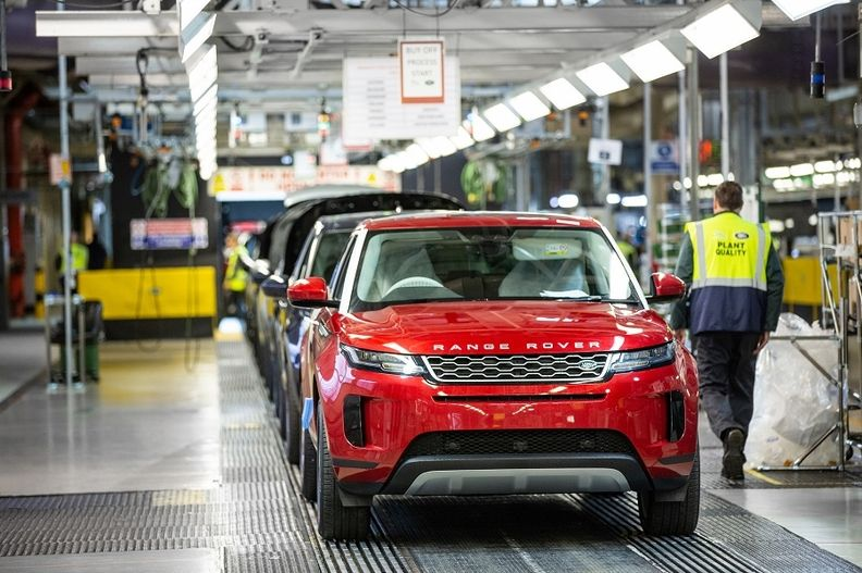 Production of the Range Rover at Jaguar Land Rover's plant in Solihull, England.