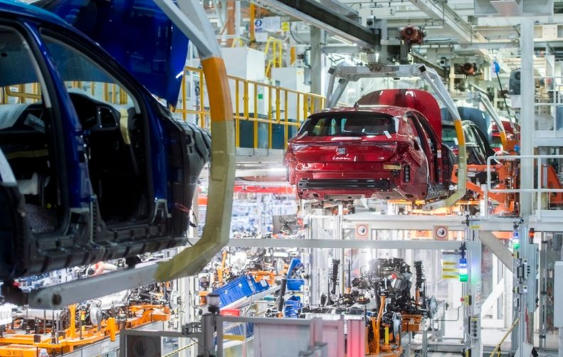 Production of the Leon compact car at Seat's factory in Martorell, Spain.