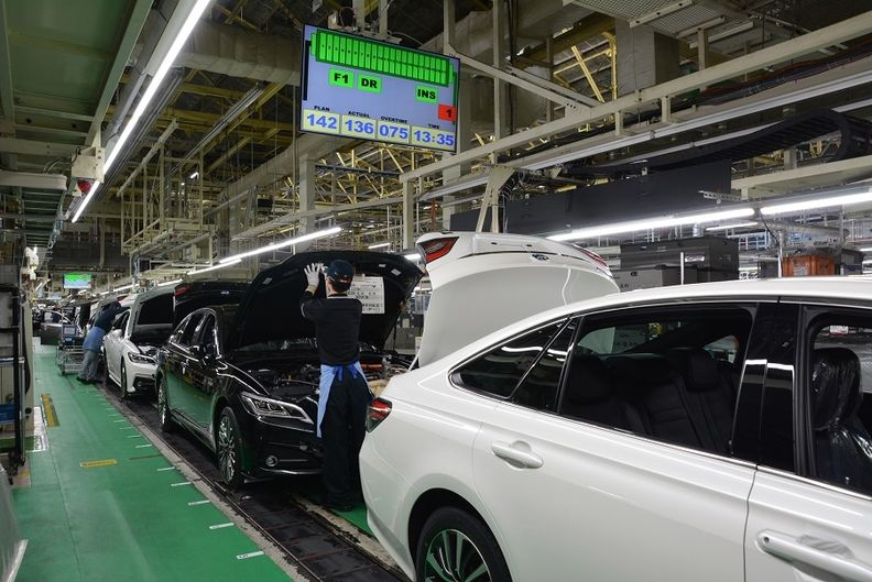 Production at Toyota's Motomachi plant in Japan.