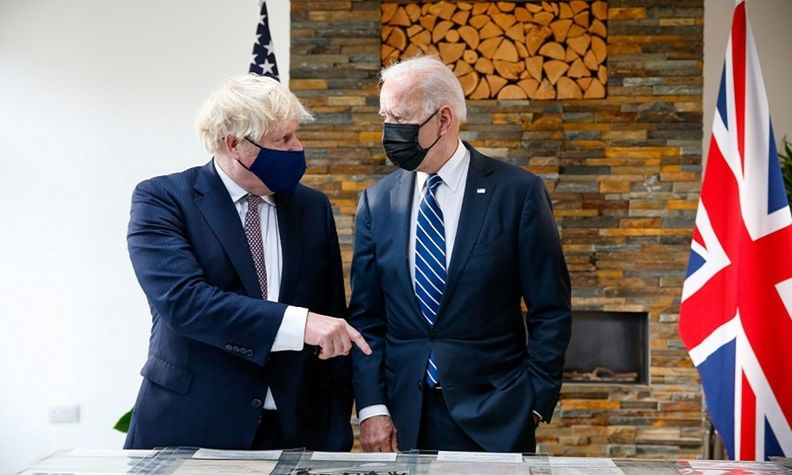 UK PM Johnson, U.S. President Biden G-7 Summit