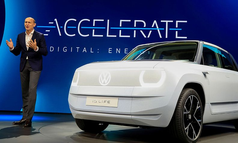 VW brand CEO Ralf Brandstaetter presents the ID Life at the IAA Munich