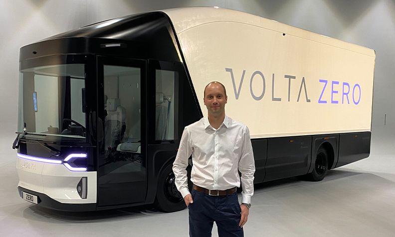 Volta Trucks CEO Rob Fowler with the full-electric Volta Zero